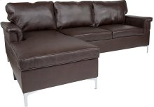 Boylston Upholstered Plush Pillow Back Sectional with Left Side Facing Chaise in Brown Leather