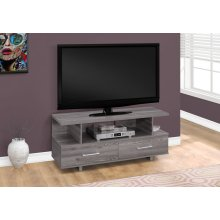 "TV STAND - 48""L / GREY WITH 2 STORAGE DRAWERS"