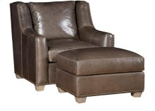 Drake Leather Chair, Drake Leather Ottoman