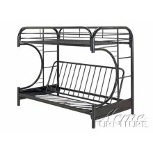 Black Finish Twin/Full Futon & Bunk Bed with Matts
