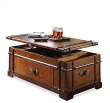 Latitudes Steamer Trunk Lift Top Coffee Table Aged Cognac finish