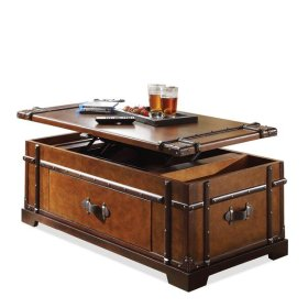 Laudes Steamer Trunk Lift Top Coffee Table Aged Cognac Finish