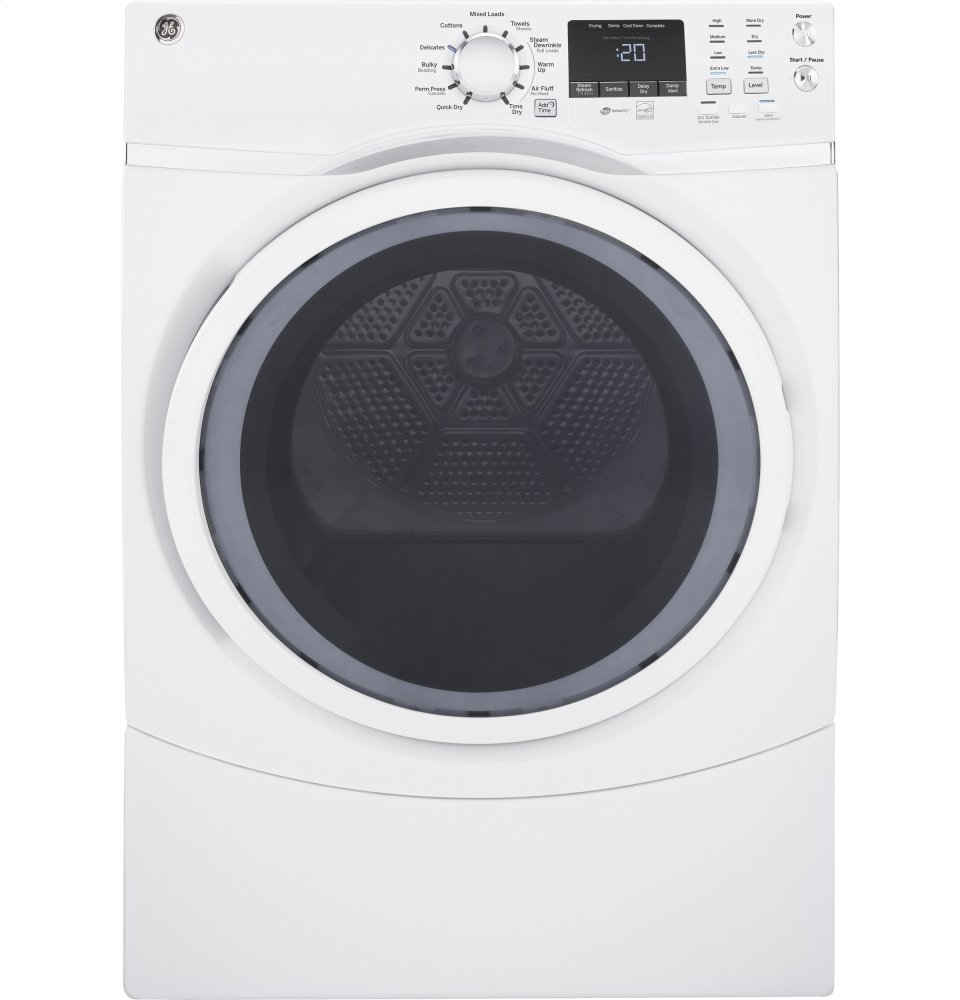 GE(R) 7.5 cu. ft. Capacity Front Load Gas Dryer with Steam
