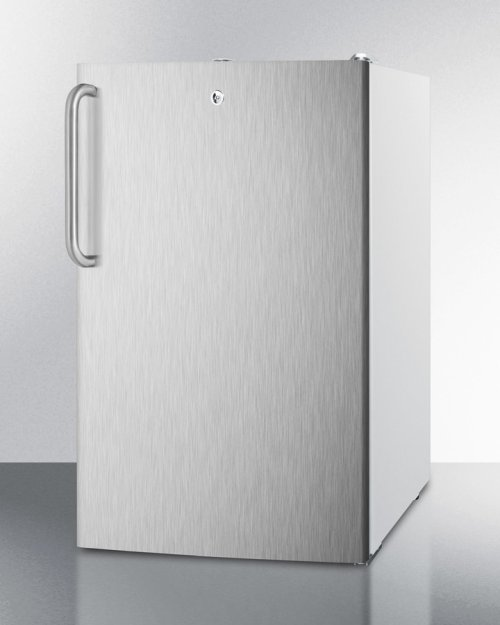 """ADA Compliant 20"""" Wide Freestanding Refrigerator-freezer With A Lock, Stainless Steel Door, Towel Bar Handle and White Cabinet"""