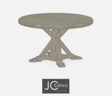 "53"" Rustic Grey Parquet Round-To-Oval Dining Table"