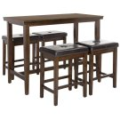 Billy 5 Piece Pub Set - Dark Brown / Black Product Image