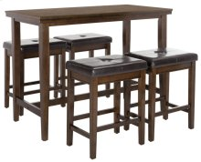 Billy 5 Piece Pub Set - Dark Brown / Black