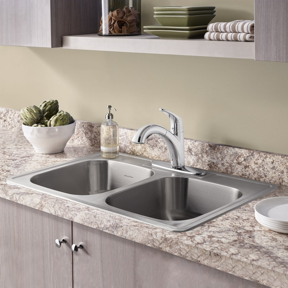 Colony Top Mount ADA 33x22 Double Bowl Stainless Steel 3 Hole Kitchen Sink  American Standard