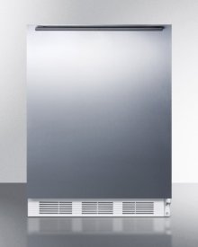 ADA Compliant All-refrigerator for Freestanding General Purpose Use, Auto Defrost W/ss Door, Horizontal Handle, and White Cabinet