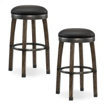 Graystone Wood Cask Stave Bar Height Stool with Black Faux Leather Seat #10119GS/BL - Set of 2