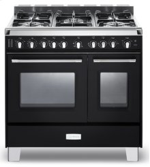 "Matte Black Verona Classic 36"" Gas Double Oven Range"