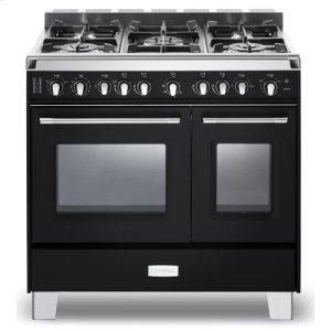 "VeronaMatte Black Verona Classic 36"" Gas Double Oven Range"