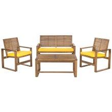 Ozark 4 PC Outdoor Living Set - Brown / Yellow