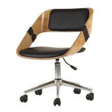 Stuart KD PU Bamboo Swivel Office Chair, Black/Natural