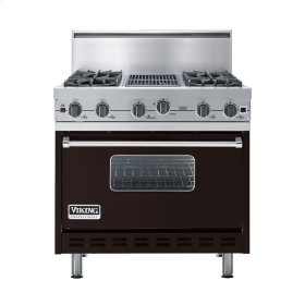 """Chocolate 36"""" Open Burner Commercial Depth Range - VGRC (36"""" wide, four burners 12"""" wide char-grill)"""