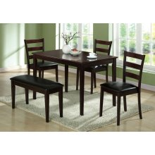 DINING SET - 5PCS SET / CAPPUCCINO BENCH & 3 SIDE CHAIRS