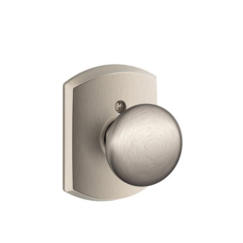 Plymouth Knob with Greenwich trim Non-turning Lock - Satin Nickel