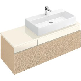 "Washbasin 31"" (Ground) Angular - Matte White CeramicPlus"