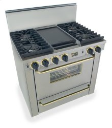 """36"""" All Gas, Convect, Sealed Burners, Stainless Steel with Brass"""