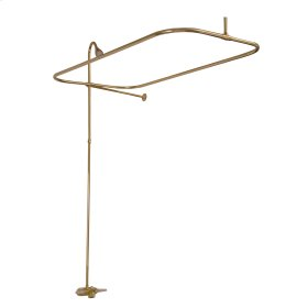 """Tub/Shower Converto Unit - 54"""" Rectangular Rod, Faucet Riser, 18"""" Wall Support - Polished Brass"""