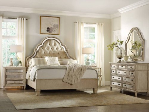 Sanctuary King Tufted Bed-Pearl Essence