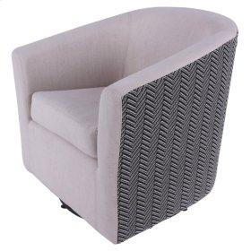 Hayden Fabric Swivel Chair, Sand/Black Herringbone