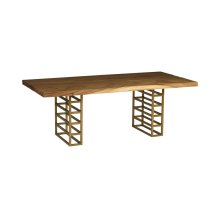 Ladder Dining Table, Suar Wood, Natural/Brass Finish