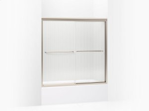 """Falling Lines Glass With Anodized Brushed Bronze Frame Sliding Bath Door, 58-5/16"""" H X 56-5/8 - 59-5/8"""" W, With 1/4"""" Thick Falling Lines Glass Product Image"""