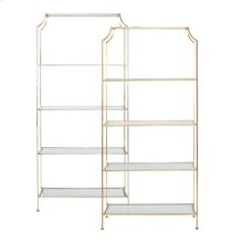 "Gold Leaf Etagere With Clear Glass Shelves Top Shelf 21.5"" H Remaining Shelves 17.5"" H"