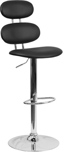 Contemporary Black Vinyl Adjustable Height Barstool with Ellipse Back and Chrome Base