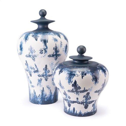 Mar Lg Temple Jar Blue & White