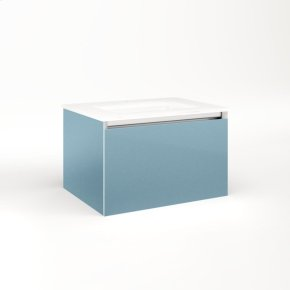 """Cartesian 24-1/8"""" X 15"""" X 18-3/4"""" Single Drawer Vanity In Ocean With Slow-close Plumbing Drawer and Night Light In 5000k Temperature (cool Light)"""