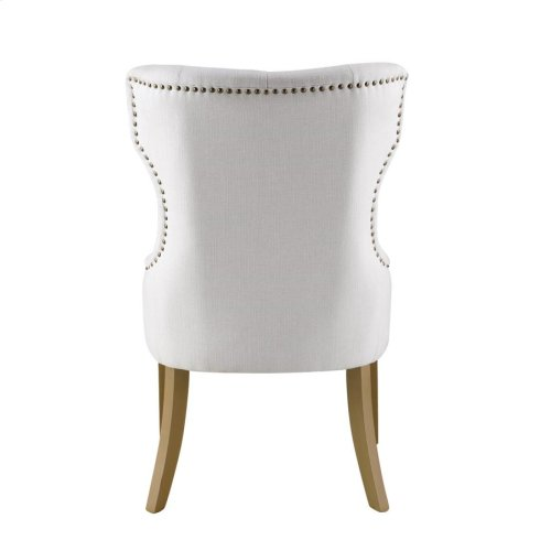 Modern White and Natural Tufted Dining Chair