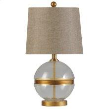 Midfield  Transitional Glass and Steel Table Lamp  100W  3-Way  Hardback Shade