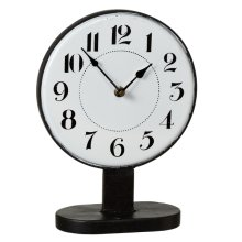 Black & White Enamel Round Desk Clock