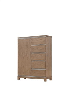 5 Side Drawers-door Chest-weathered Gray Finish