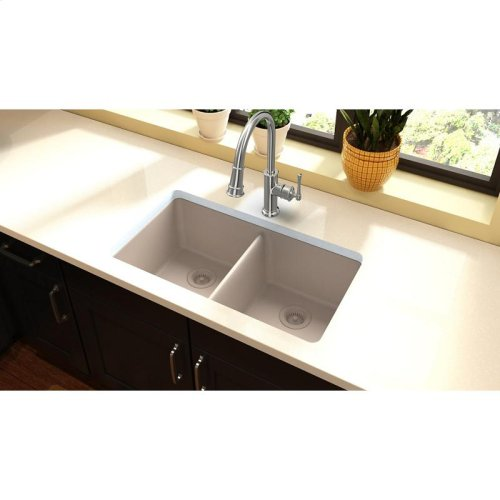 "Elkay Quartz Classic 33"" x 18-1/2"" x 9-1/2"", Equal Double Bowl Undermount Sink, Putty"