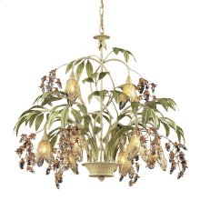 Huarco 8-Light Chandelier in Seashell and Sage Green with Floral-shaped Glass