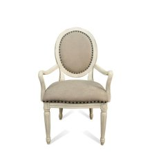 Huntleigh Upholstered Oval Arm Chair Vintage White finish