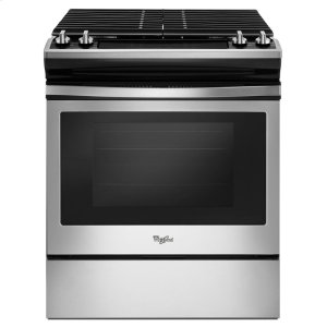 5.0 cu. ft. Front Control Gas Range with Cast-Iron Grates - BLACK-ON-STAINLESS
