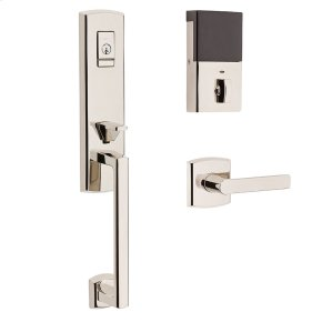 Polished Nickel with Lifetime Finish Evolved Soho 3/4 Escutcheon Handleset