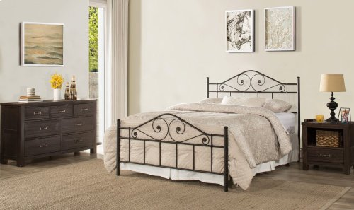 Harrison Queen Bed With Rails - Textured Black