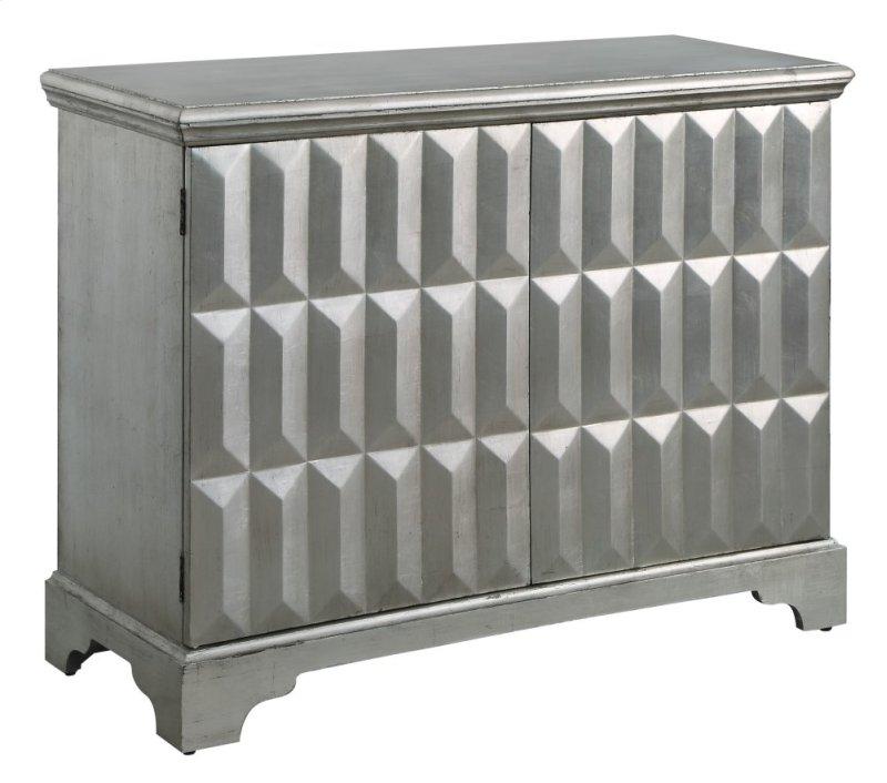 Roxbury 2 Door Raised Panel Antiqued Silver Leaf Cabinet