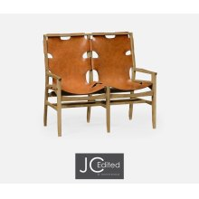 Midcentury Style Slung Leather & Light Oak Two Seat Bench