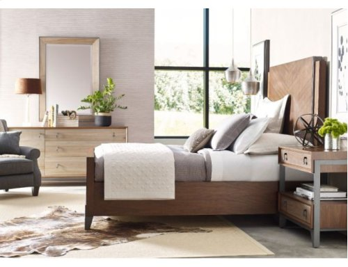 Chevron Walnut King Bed Package