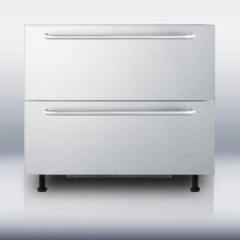 """36"""" wide two-drawer refrigerator for built-in installation, with stainless steel front and towel bar handles; made for us by Ariston in Italy"""