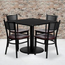 36'' Square Black Laminate Table Set with Grid Back Metal Chair and Mahogany Wood Seat, Seats 4