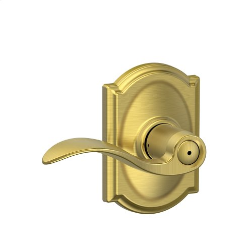 Accent Lever with Camelot trim Bed & Bath Lock - Satin Brass