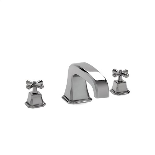 Brushed Chrome Harrison Cross Handle Deck Mount Tub Set Small