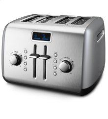 4-Slice Toaster with Manual High-Lift Lever and Digital Display - Contour Silver